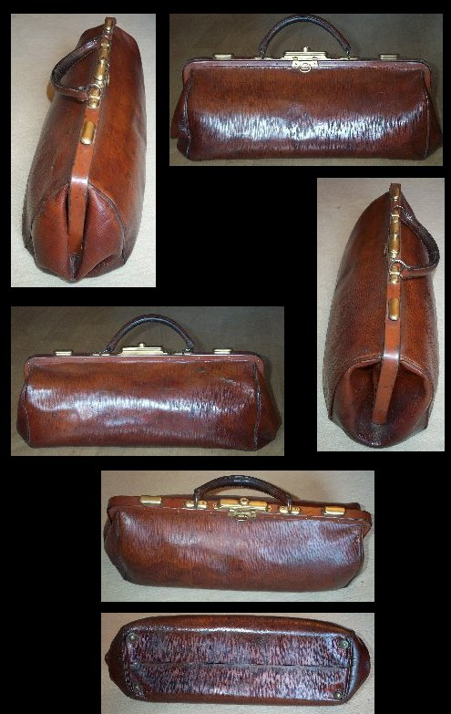 Large Leather and Brass Shell Doctor's Bag