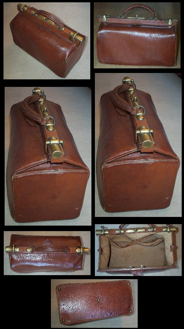 Large Leather and Brass Doctor's Bag