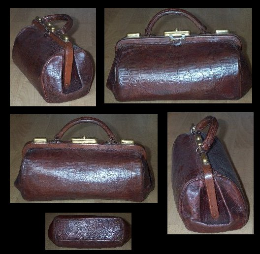 Small Crocodile-style Leather Nurse Shell Bag