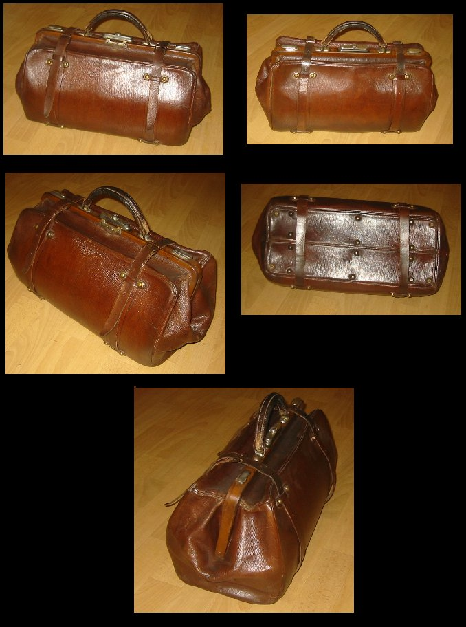 Large Leather Shell Doctor's Bag with lanyards