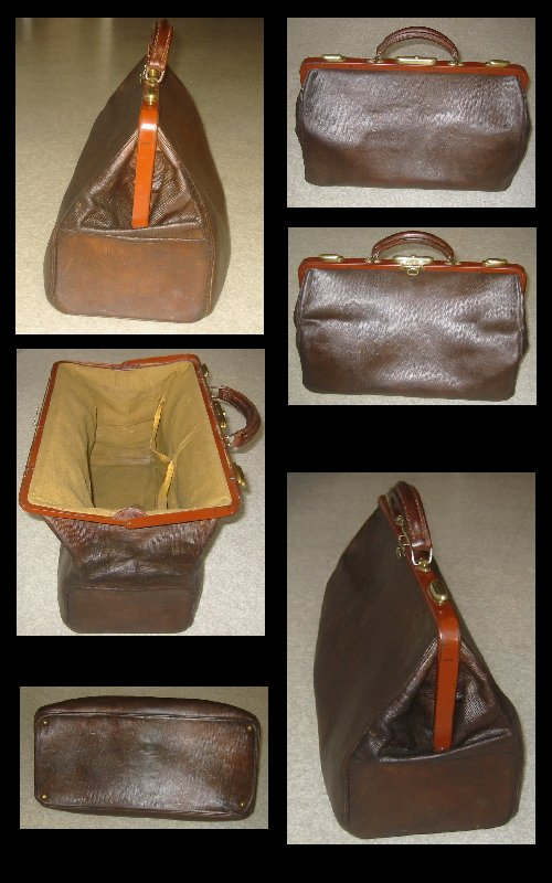 Antique French Leather and Brass Doctors Bag c1920s