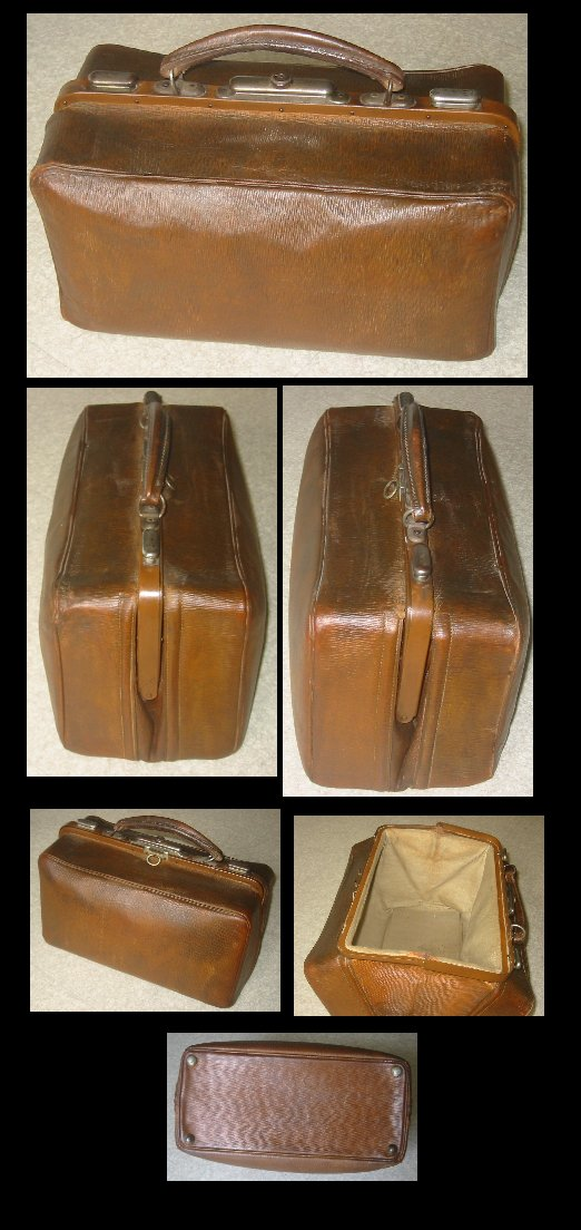 Antique English Leather Gladstone Bag c1920s