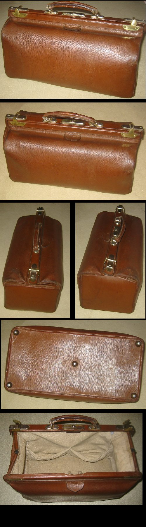 Antique Large Brown Leather and Brass Doctor's Bag c1910s