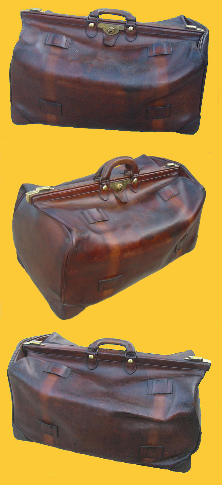 Antique Leather Luggage - Travel Bag c 1900's : Antique leather luggage
