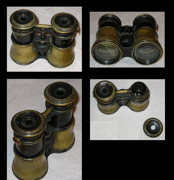 Antique Triple Optics Binoculars Marine Theatre Field